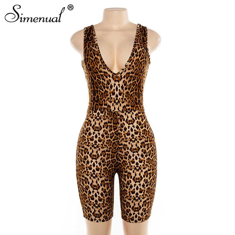 Simenual leopardo v pescoço fitness biker playsuits sem mangas sexy moda macacão das mulheres macacões magro verão magro playsuit quente