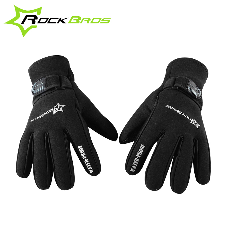 2017 RockBros Cycling font b Glove b font Men Winter Thicken Fleece Thermal Sports MTB Road