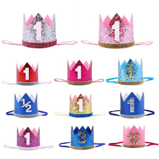 1PCS First Birthday Party Hats Cap Glitter Hat Princess Crown Headband 1st 3rd 18th Baby
