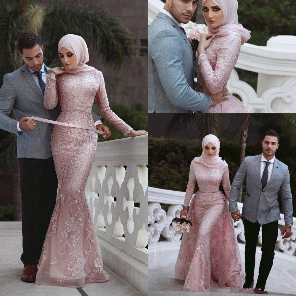 Elegant Muslim   Evening     Dresses   2019 Mermaid Long Sleeves Lace Beaded Islamic Dubai Saudi Arabic Long Formal   Evening   Gown Prom
