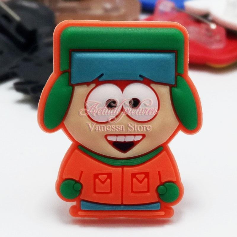 Single Sale 1pc South Park decoration PVC Pins badges brooches collection DIY charms FFit For Shoe Accessories Shoes Decor