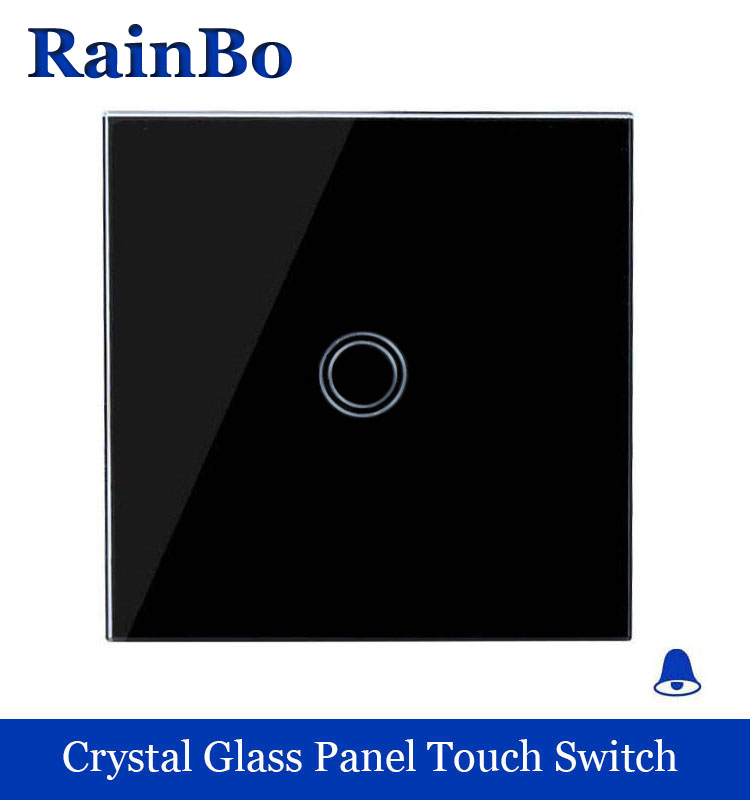 Touch Switch Screen Crystal Glass Panel Switch EU Wall Switch 110~250V Doorbell Switch  Black for LED Lamp rainbo A1911XMLB rainbo touch switch screen crystal glass panel wall switch eu standard 110 250v wall light switch 2gang2way led lamp a1922xw b
