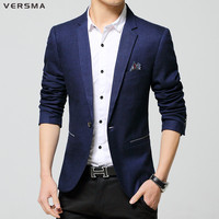 VERSMA 2017 Men's Casual Slim Fit One Button Suit Blazer Tops Men Tuxedo Slim Fit Men Blazer Suit Jacket Designs Stylish Blazers