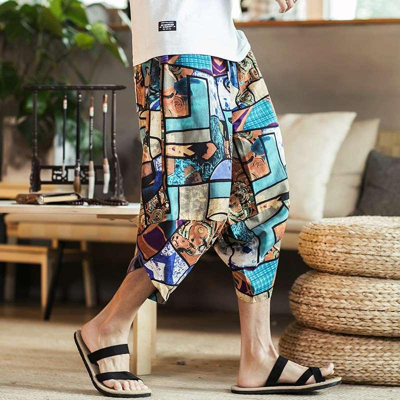 Print Hip Hop Summer Hawaiian Style Flower Beach Shorts Men Cotton Linen Elastic Waist Large Size 5XL Casual Shorts Calf Length