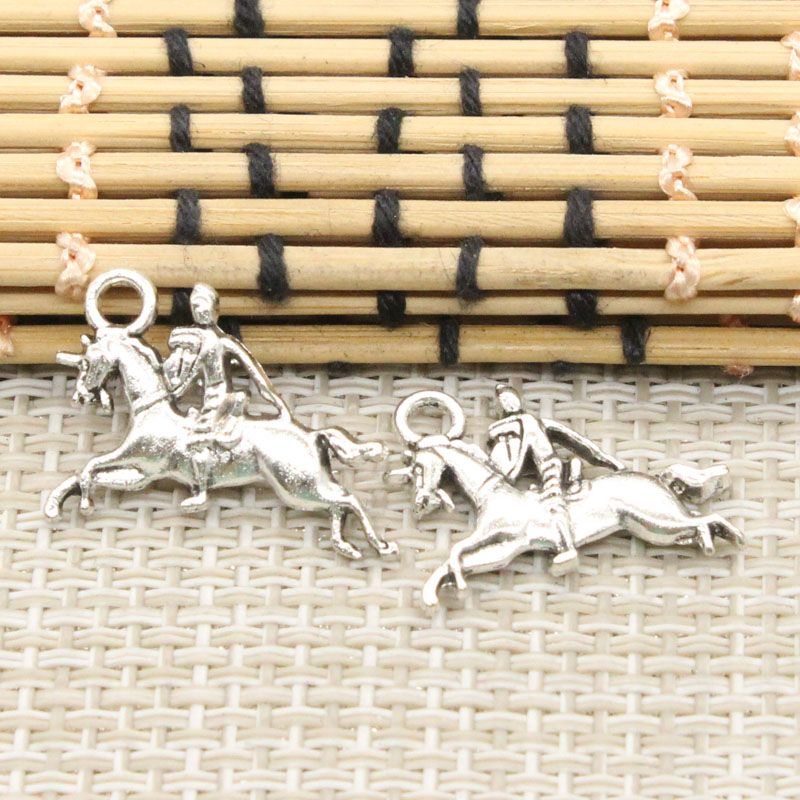 10pcs Charms horsemanship horse 25*16mm Tibetan Silver Plated Pendants Antique Jewelry Making DIY Handmade Craft