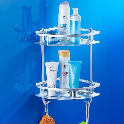 Double tier bathroom shelf space aluminum bathroom corner basket bathroom rack wall mounted shower shelf bathroom accessories