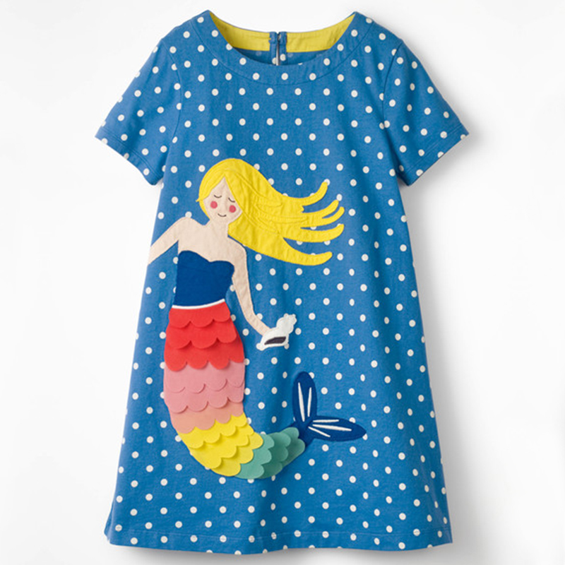 Blue Dot Baby Girls Dresses Applique Mermaid Children Clothes Blouse Girls Jumpers Toddler Clothing One-Piece Dress 100-140 Top