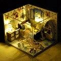 4 Стиль Головоломки Модель DIY Кукольный Домик Творческий Подарок На День Рождения Ручной Деревянный Миниатюрный Кукольный Дом с LED Мебель Игрушки для Девочки