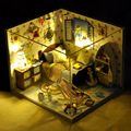 4 Style Puzzle Model DIY Dollhouse Creative Birthday Gift Handcraft Wooden Miniature Doll House with LED Furniture Toy for Girl