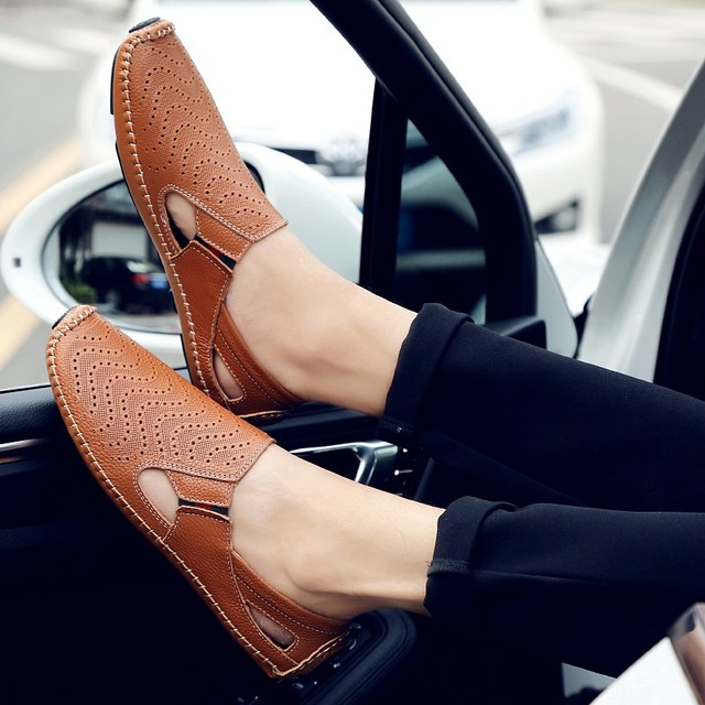 Zplover Brand Fashion Casual Shoes Men Genuine Leather Shoes Handmade Light Breathable Men Flats Moccasins Loafers Driving Shoes