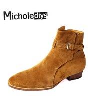 Ручной работы зимние сапоги с пряжкой Kanye West Ботинки Челси ботильоны высокие кожаные Свадебная вечеринка платье ботинки мотоциклетные мужские ботинки