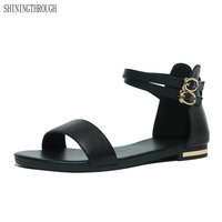 2018 New Summer Women Sandals European Fashion Simple Flat Sandals With Flat Sandals Genuine Leather Large