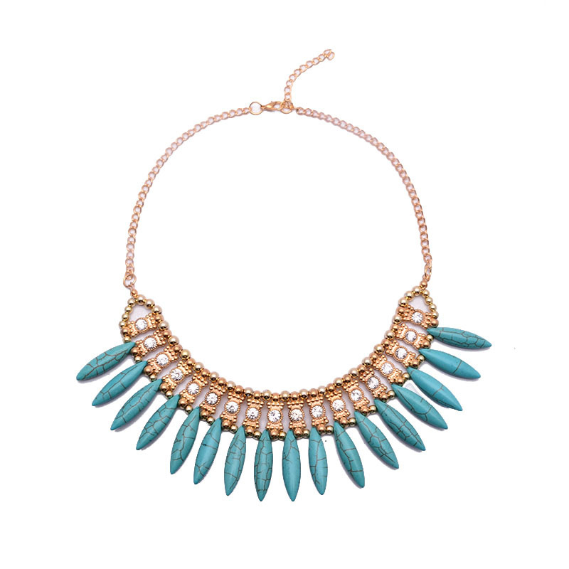 2016 Korea Fashion Bohemian Acrylic Spike Inlaid Crystal Zircon Choker Necklace Vintage Turquoise Necklaces & Pendants For Women