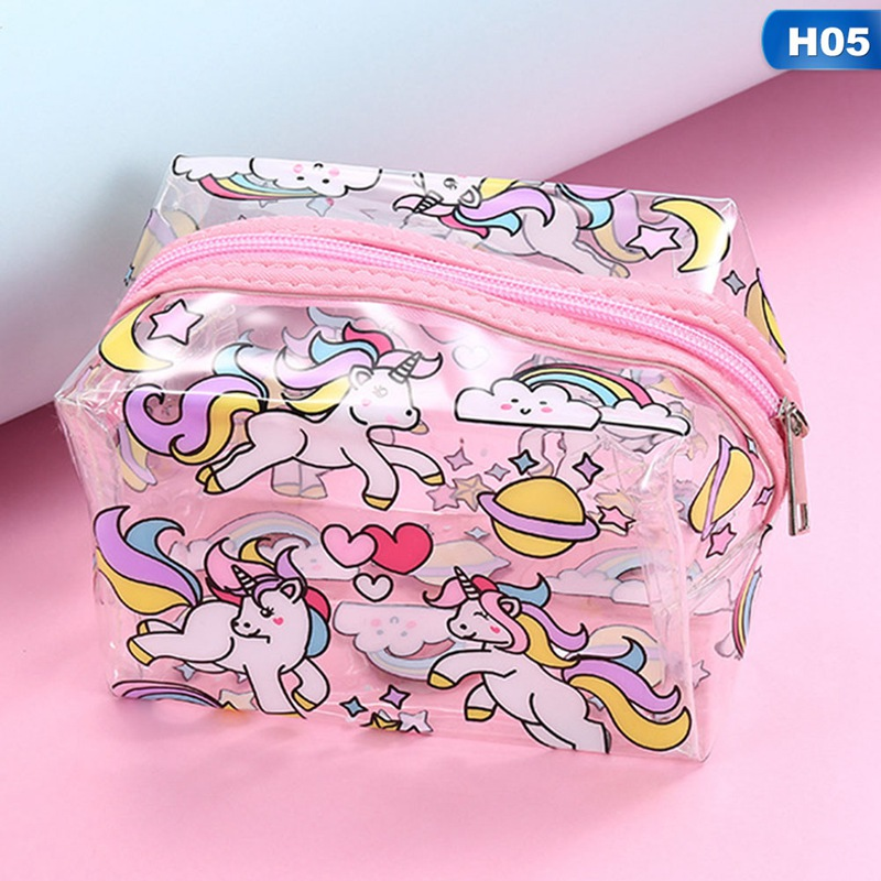 Hot Sale Unicorn PVC Makeup Bag Waterproof Cute Clear Transparent Plastic PVC Travel Makeup Cosmetic Toiletry Zip Bag
