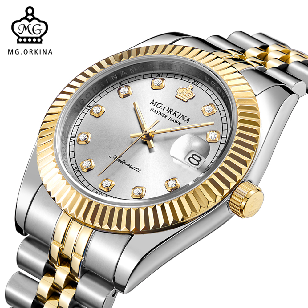 Men Top Luxury Brand MG ORKINA Stainless Steel Band Calendar Japan Movt Auto Mechanical Wristwatches Male Dress Watches