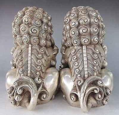 A Pair Chinese Feng Shui tibet silver Rare Chinese Silver Guardian Lion Foo Fu Dog Statue 2pcs Garden Decoration Bronze