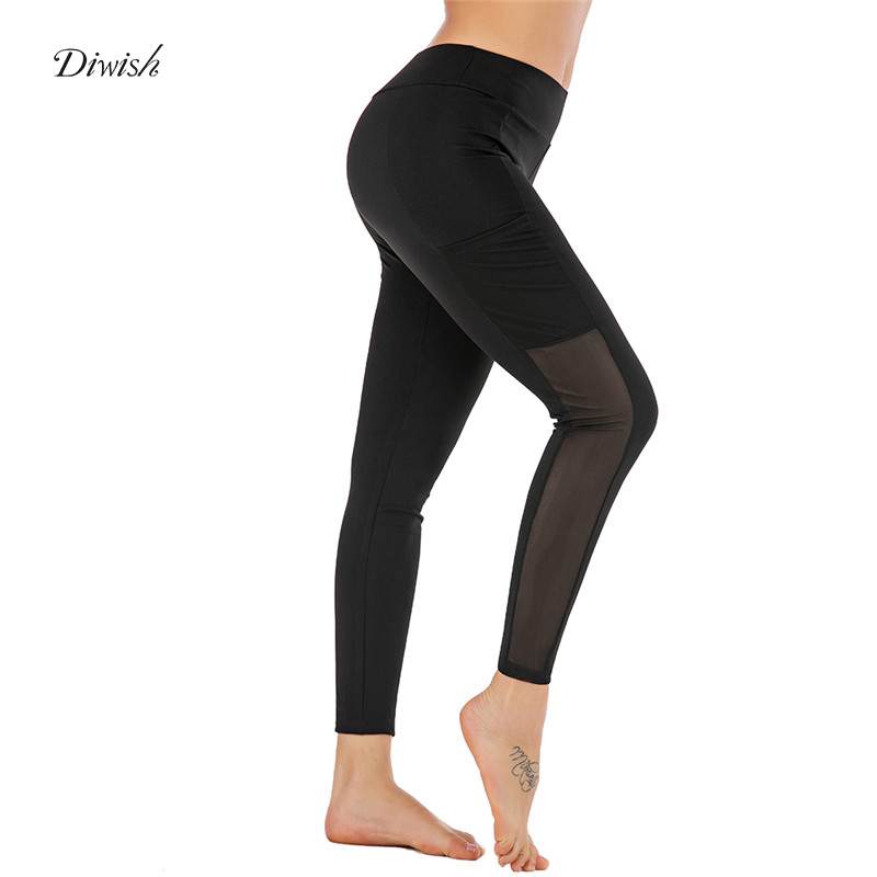 Diwish Gym Leggings Women 2019 New Mesh Patchwork Black Yoga Pants with Pockets Fitness Tights Sports Wear for