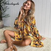 Fashion 2017 Boho Print Lace Hollow Out Summer Dress Women Lantern Sleeve Loose Short Dress Vintage