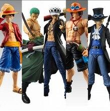 Anime einteiler beweglichen figure luffy ace lorenor zorro trafalgar law sabo pvc action figure spielzeug sammeln modell