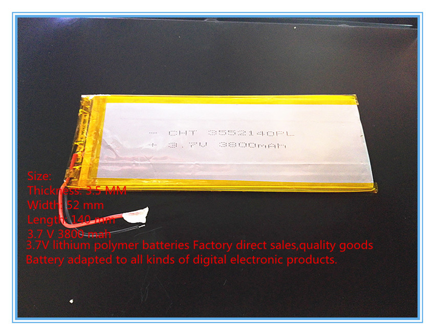 New 3.7 V lithium polymer battery rechareable battery 3552140 pl 3800 mah tablets