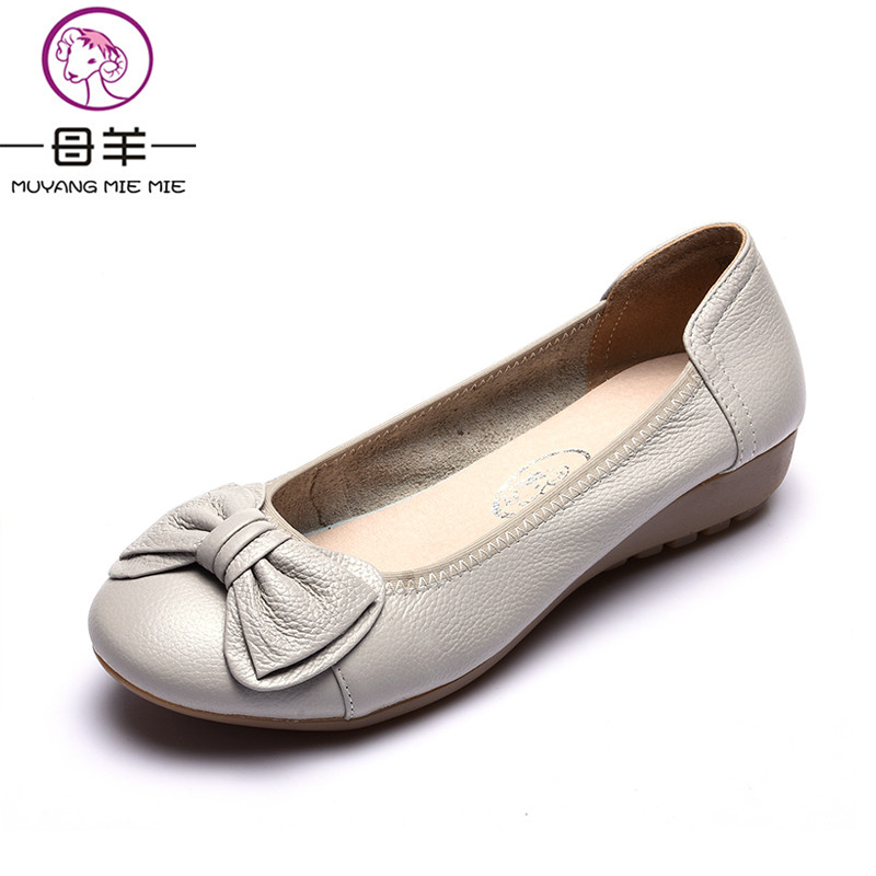 MUYANG Plus Size(34-43) Genuine Leather Women Shoes Woman Casual Work Loafers 2017 New Fashion Women Flats plus size 34 43 women shoes genuine leather flat shoes woman maternity casual work shoes 2018 fashion loafers women flats