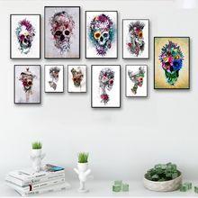 Абстрактный холщовый постер с акварельным черепом художественные