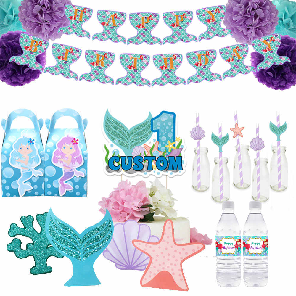 Mermaid Theme Party Supplies Box Invitation Ceiling Hanging Straws Bags Cake Topper Bottle Wrapper Banner Party Decoration