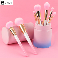 9 pcs pincéis de maquiagem profissional rosa cor eyeshadow sobrancelha delineador lip blush em pó foundation escova cosmética ferramenta