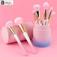 9 stks professionele make borstels roze kleur poeder blush foundation oogschaduw wenkbrauw eyeliner lip cosmetische penseel