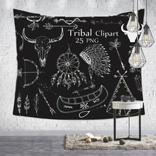 Loartee Psychedelic Witchcraft Tapestry Tribal Clipart Astrology Rune Hippie Wall Hanging Decorative Print Picture Tapiz Blanket