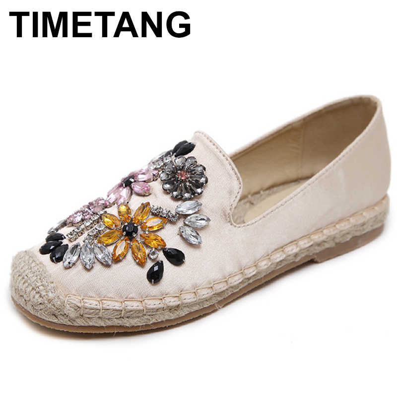 TIMETANG Women Espadrilles Flats Crystal Flowers Hemp Fisherman Shoes Ladies Fashion Rhinestone Loafers Slip On Single ShoesE275