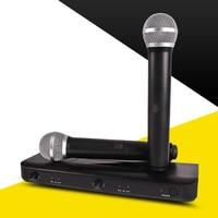 SikkiS Wireless 1 Driven 2 Microphone Home Karaoke TV Computer Speaker KTV with Transmitter High Fidelity 6.35 Plug JY306