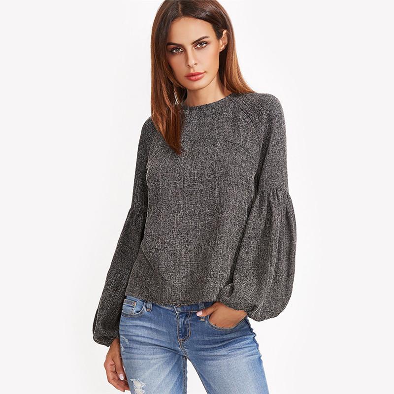 HTB1qcCPOVXXXXc3apXXq6xXFXXXv - Women Shirt Ladies Grey Lantern Long Sleeve Blouse
