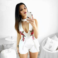2017 Sleeveless Straight Rose Embroidery Sexy V Neck Jumpsuits Overalls For Women Playsuits Rompers Pants S