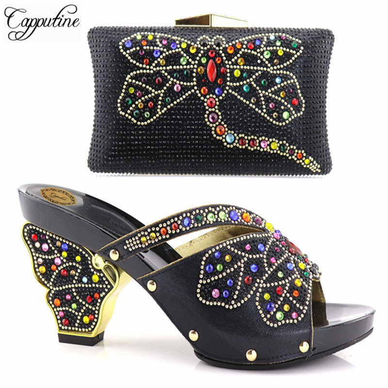 Capputine New Design African Women Shoes And Bag Sets Italian With Rhinestones Pumps Shoes With Matching Bags For Evening Party italian shoes with matching bag new design african pumps shoe heels fashion shoes and bag set to matching for party gf25