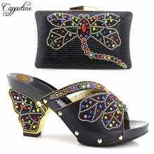 Capputine New Design African Women Shoes And Bag Sets Italian With Rhinestones Pumps Shoes With Matching Bags For Evening Party