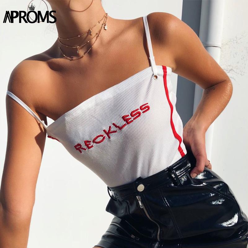 Aproms White Embroidery Ribbed Crop Top Women Streetwear Basic Elastical Camis Fashion 2018 Slim Fit Tank Tops Cropped Short Tee