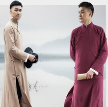 High Quality Unique style Talk Show Gown Long Clothing For Oversea Chinese Cotton Linen Asian Performance Crosstalk Robe