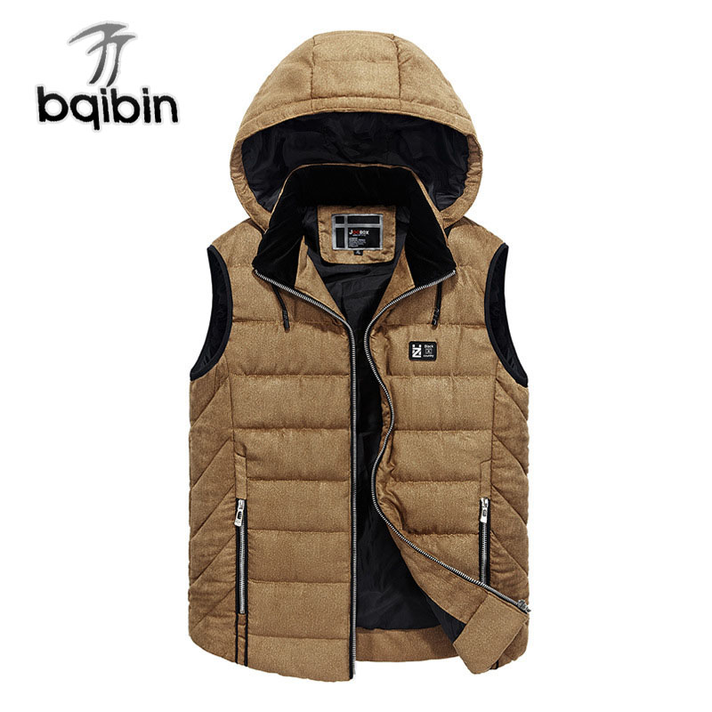 Mens Casual Vest Hooded Thickened Vest Warm Solid Color Sleeveless Jacket