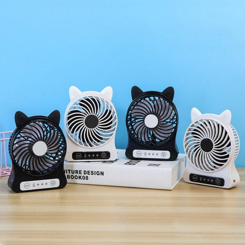 Cartoon Mini Fan Personal Cooling Desktop Fan With LED Lamp Night Light USB Rechargeable Pocket Fan For Kids Student Office Room