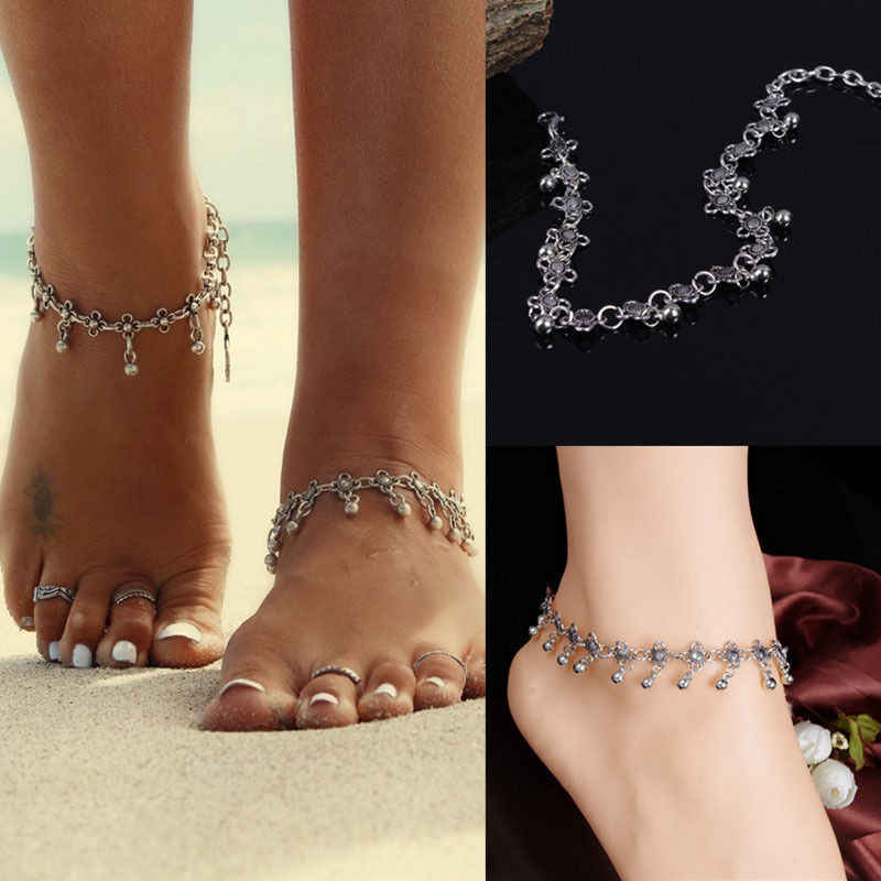1Pc Fashion Women Chain Ankle Bracelet Antique Silver Flower Small Bells Ball Tassel Ankles Foot Chain Indian Costume Anklet