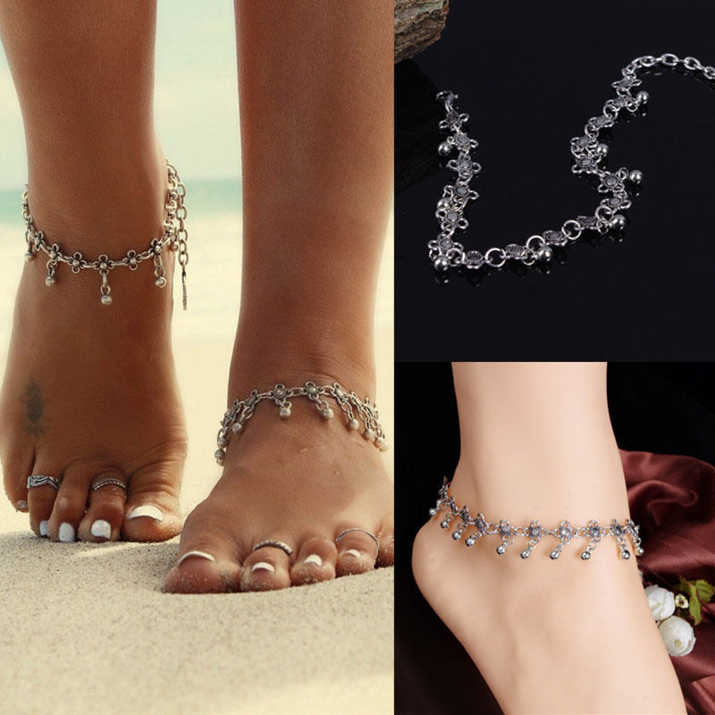 1Pc Fashion Women Chain Ankle Bracelet Antique Flower Small Bells Ball Tassel Ankles Foot Chain Indian Costume Anklet