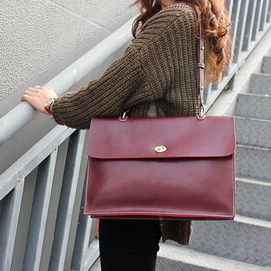 Voyage d'affaires paquet femmes véritable mallette en cuir sac à bandoulière grande capacité sac de travail - 4