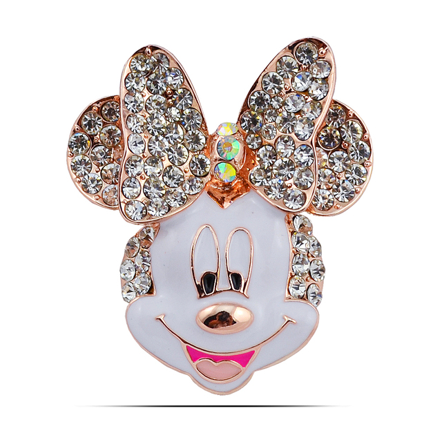 B150 Cartoon Mickey Mouse broche para mujeres oro color rhinestone ...