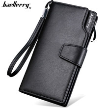 Baellerry high quality long wallet for men Zipper purse for Men fashion coins men's wallets PU Leather bit clutch Lover Gift(China)