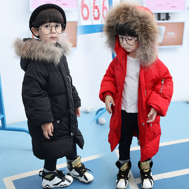 e4f152047e12 30 degrees Kids Winter Jackets and Coats Big Real Fur Hooded Thicken ...
