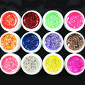 12 Pcs Mix Color Glitter Hexagon Sheet Nail Art UV Builder Gel for False Tip Set