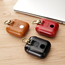 Oil-wax Genuine Leather Bluetooth Wireless Earphone Case for Apple Airpods Luxury Coque Anti-fall Top Quality Real