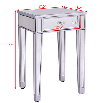 Giantex Mirrored Accent Table Nightstand 1