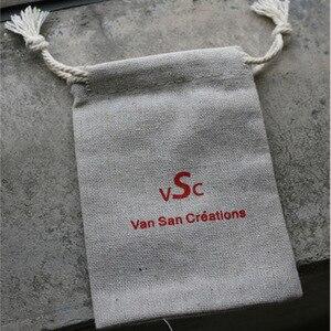 "Image 5 - 100 Gepersonaliseerde Logo Linnen Zak 9X12 Cm (3 4/8 ""X 4 6/8"") print Koper Ontwerp Of Bedrijf Winkel Naam Jute Gift Pouch"